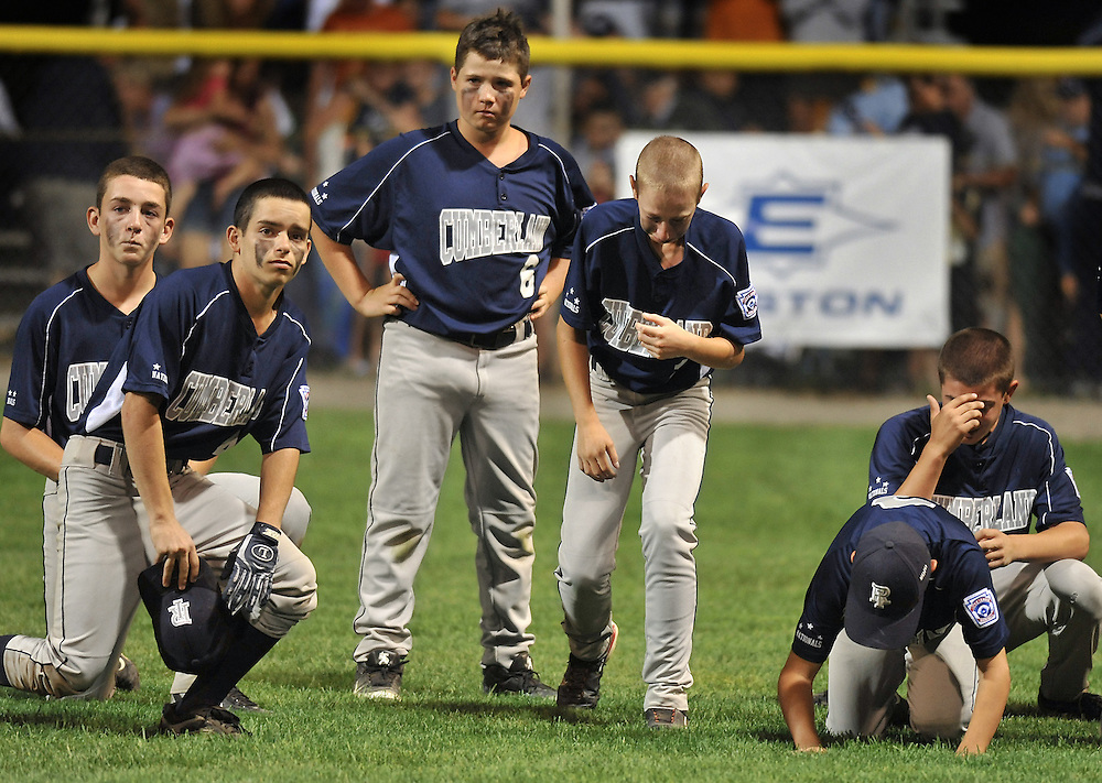 Cumberland Rhode Island reacts after losing 1-0 to Fairfield Connecticut in the New England Regional championship little league baseball game in Bristol, Conn., Saturday, Aug. 14, 2010.  (AP Photo/Jessica Hill)