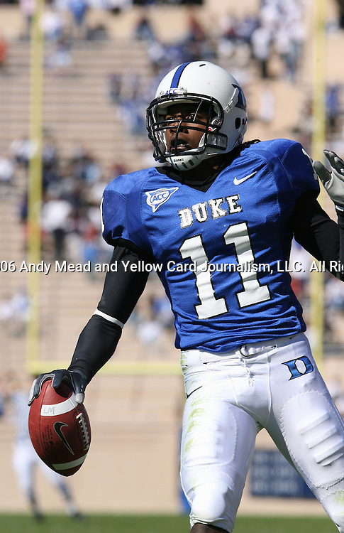 14 October 2006: Duke's John Talley celebrates after running an interception back 50 yards for a touchdown. The Florida State University Seminoles defeated the Duke University Blue Devils 51-24 at Wallace Wade Stadium in Durham, North Carolina in an Atlantic Coast Conference NCAA Division I College Football game.