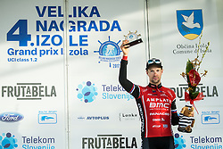 Third placed MUGERLI Matej (SLO)  of BMC Amplatz celebrates during trophy ceremony after the UCI Class 1.2 professional race 4th Grand Prix Izola, on February 26, 2017 in Izola / Isola, Slovenia. Photo by Vid Ponikvar / Sportida