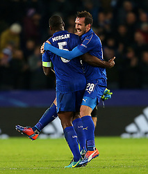 Christian Fuchs of Leicester City celebrates at full time with Wes Morgan - Mandatory by-line: Matt McNulty/JMP - 22/11/2016 - FOOTBALL - King Power Stadium - Leicester, England - Leicester City v Club Brugge - UEFA Champions League