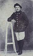 old and damaged photo of a French soldier 1900s