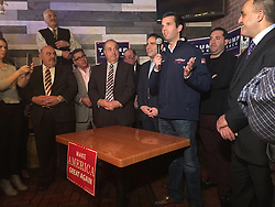 November 7, 2016 - MI, USA - Donald Trump Jr. makes a last minute campaign stop at Rub BBQ restaurant on Nov. 7, 2016 in Detroit, speaking with about 75 supporters. (Credit Image: © Kathleen Gray/TNS via ZUMA Wire)