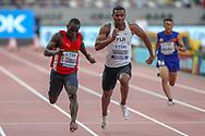 Cheick Camara (Guinea), Ratu Banuve Tabakaucoro (Fiji), Dinesh Kumar Dhakal (Bhutan), 100m Men - Preliminary Round, Heat 4, start, during the 2019 IAAF World Athletics Championships at Khalifa International Stadium, Doha, Qatar on 27 September 2019.