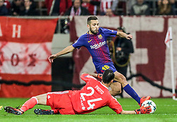 ATHENS, Nov. 1, 2017  Goalkeeper of Olympiacos Silvio Proto (front), vies with Jordi Alba of Barcelona during their UEFA Champions League group D match in Athens, Greece, on Oct. 31, 2017. The match ended with a 0-0 tie. (Credit Image: © Lefteris Partsalis/Xinhua via ZUMA Wire)