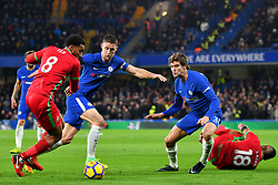 November 29, 2017 - London, England, United Kingdom - Chelsea Defender Gary Cahill (24) and Marcos Alonso (3) defend against Swansea City's Leroy Fer (8) during the Premier League match between Chelsea and Swansea City  at Stamford Bridge, London, England on 29 Nov 2017. (Credit Image: © Kieran Galvin/NurPhoto via ZUMA Press)