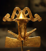 Frog Pendant.  Costa Rica, Chiriqul.  11th-16th century.  Cast Gold.  Frogs are frequently depicted in the goldwork of Costa Rica and Panama, a tropical region where numerous species abound, from tiny terrestrial varieties to giant tree frogs.
