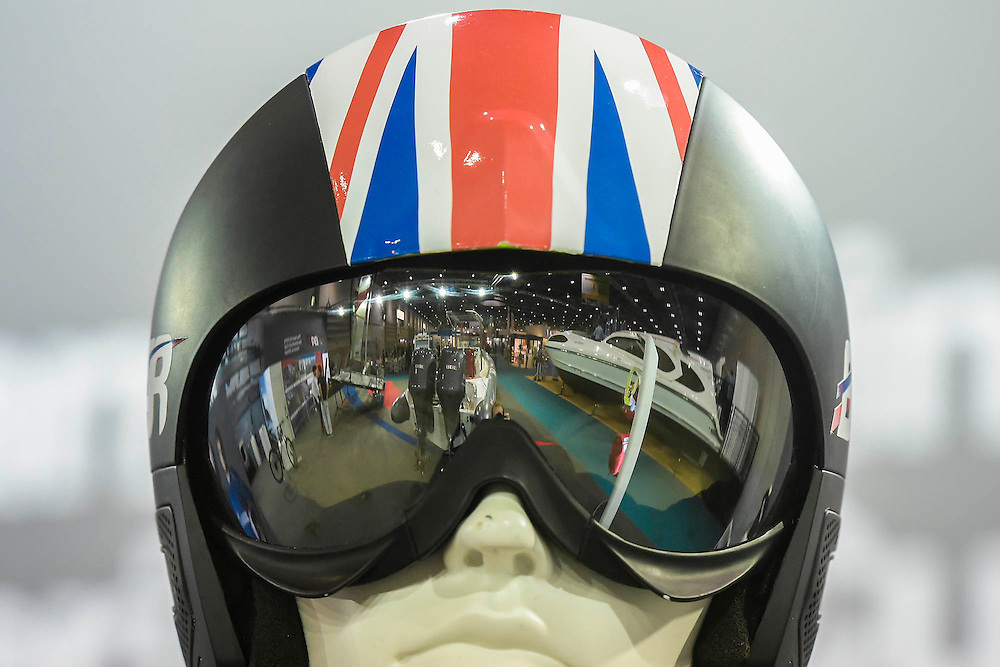 The Official helmet as part of the kit for the BAR  - Ben Ainslie Racing - challenge for the Americas Cup. The CWM FX London Boat Show, taking place 09-18 January 2015 at the ExCel Centre, Docklands, London. 09 Jan 2015.