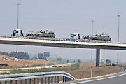 Israel, Tank carriers transporting Merkava tanks on a highway