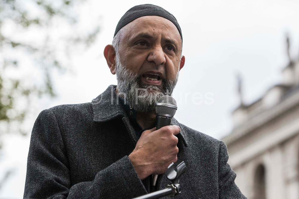 Ismail Patel, Chair of Al Aqsa, addresses thousands of people attending an emergency rally in solidarity with the Palestinian people organised outside Downing Street by Palestine Solidarity Campaign, Friends of Al Aqsa, Stop The War Coalition and Palestinian Forum in Britain on 11th May 2021 in London, United Kingdom. The rally took place in protest against Israeli air raids on Gaza, the deployment of Israeli forces against worshippers at the Al-Aqsa mosque during Ramadan and attempts to forcibly displace Palestinian families from the Sheikh Jarrah neighbourhood of East Jerusalem.