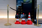 Reserved parking cones are stacked outside the Intercontinental Hotel in the Slovenian capital, Ljubljana, on 25th June 2018, in Ljubljana, Slovenia.