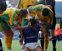 Picture: Henry Browne.<br />Date: 21/12/2003.<br />Iswich Town v Norwich City Nationwide First Division.<br />Norwich players accuse Ipswich's Pablo Counago of diving.