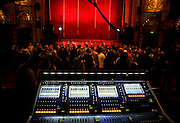 The mixing desk at the Hackney Empire just before the launch of Madness's new album 'The Liberty of Norton Folgate'.