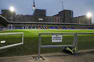 Keep off the pitch sign at New Plough Lane during the EFL Sky Bet League 1 match between AFC Wimbledon and Peterborough United at Plough Lane, London, United Kingdom on 2 December 2020.