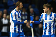 Brighton & Hove Albion centre forward Glenn Murray celebrates with Brighton & Hove Albion striker Solly March afer scoring a goal to make it 1-0 during the EFL Sky Bet Championship match between Brighton and Hove Albion and Birmingham City at the American Express Community Stadium, Brighton and Hove, England on 4 April 2017. Photo by Bennett Dean.