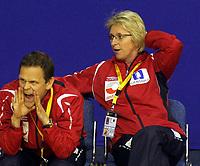 03.12.2008 Ohrid (FYR Macedonia)<br />Norway-Spain European women's handball championship<br />Thorir Heirgeirsson(L) Norway coach with Marit Breivik(R) Norway head coach  <br />Foto:Aleksandar Djorovic