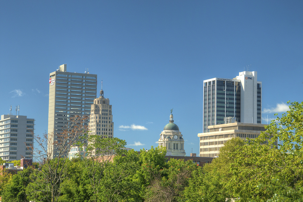 View of the downtown skyline in Fort Wayne, IN on Wednesday, August 12, 2015. Copyright 2015 Jason Barnette