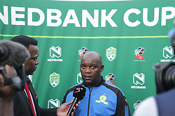 22042018 (Durban) Sundowns head coach Pitso Mosimane talk at the post match interviews when Maritzburg United FC make their way to the final of the Nedbank Cup after walloping 3-1 when playing against Mamelodi Sundowns FC at the Harry Gwala Stadium in Pietermaritzburg; KZN yesterday.Picture: Motshwari Mofokeng/ANA