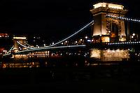 Budapest, Hungary.  Széchenyi Chain Bridge at night.