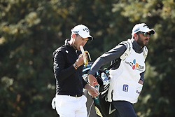 Oct 19, 2018-Jeju, South Korea-DANNY WILLETT of England action on the 15th green during the PGA Golf CJ Cup Nine Bridges Round 2 at Nine Bridges Golf Club in Jeju, South Korea.