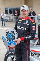 March 23, 2019 - Austin, TX, U.S. - AUSTIN, TX - MARCH 23: Will Power (12) holds the pole award trophy in front of his Verizon Team Penske, Chevrolet powered Dallara IR-18 after taking the pole during the IndyCar Classic held March 23, 2019 at the Circuit of the Americas in Austin, TX. (Photo by Allan Hamilton/Icon Sportswire) (Credit Image: © Allan Hamilton/Icon SMI via ZUMA Press)