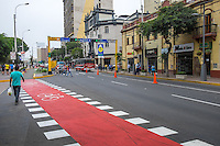 LIMA, PERU - CIRCA APRIL 2014: View of famous and populous Jose Larco Ave, in the Miraflores neighborhood.