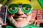 Moscow, Russia, 15/06/2018.<br /> A Brazil supporter in central Moscow during the 2018 FIFA World Cup.