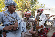 """Mcc0081437 . Daily Telegraph<br /> <br /> DT Foreign<br /> <br /> Yemeni militia loyal to Marib's provincial governor, Sultan Al-Aradah inside his compound .<br /> Thanks to oil revenues and close ties with Saudi Arabia Marib could be viewed almost as an oasis of normalcy in a country torn apart by civil war . Since the conflict began in 2015 the town has expanded dramatically with Yemeni's flooding in from Houthi controlled areas attracted by the relative peace and stability .<br /> <br /> Yemen has been in the midst of a civil war since 2015 when the President Abdrabbuh Mansur Hadi was forced to flee . A Saudi led coalition with 9 other Arab states  named """"Operation Decisive Storm """"  has since sought to restore Hadi with little effect .<br /> <br /> Yemen 20 February"""