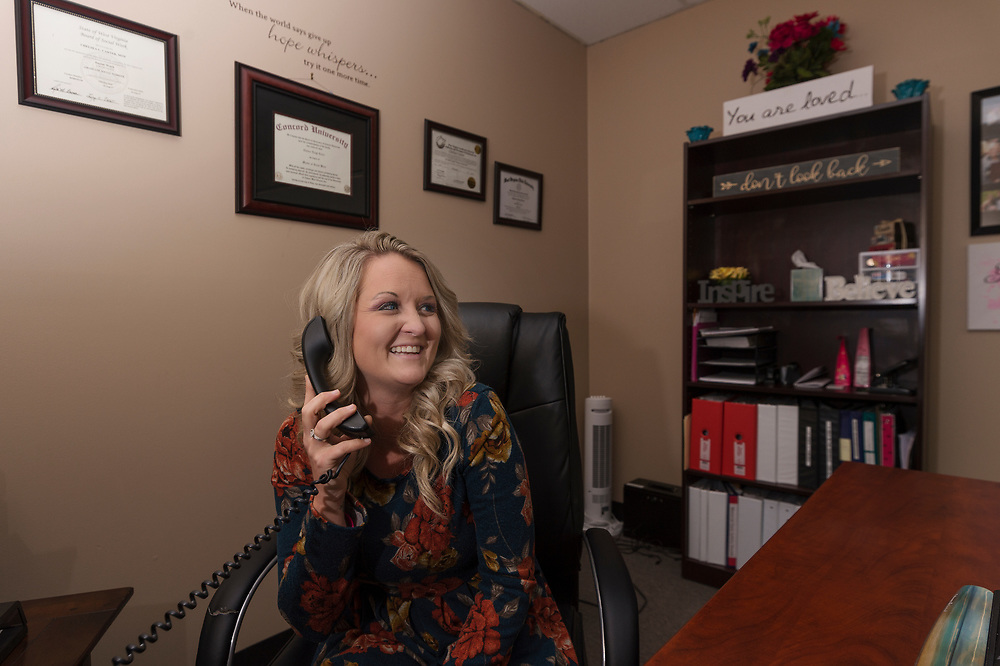 Chelsea Carter, a former addict who is now a program director and addiction counselor at Appalachian Health Services, is seen in her office in Logan, W.Va., on Friday, January 26, 2018.