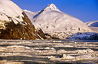 Portage Lake surrounded by the Portage Glacier, Alaska USA