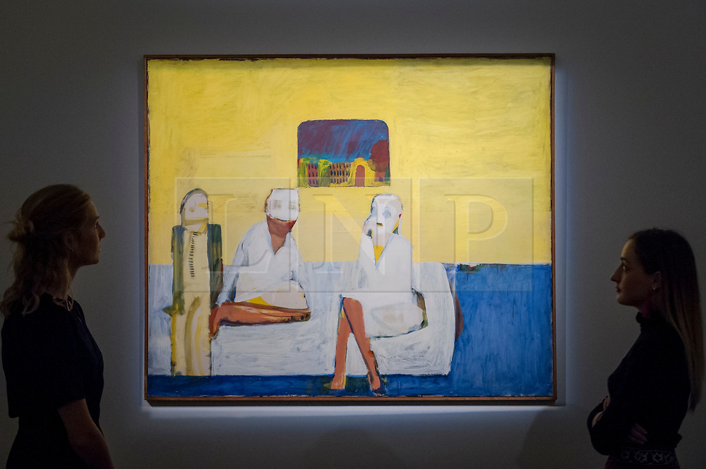 """© Licensed to London News Pictures. 20/10/2017. London, UK. Staff members view """"Bedroom"""", 1966, by Howard Hodgkin, (Est, GBP250-300k), part of Howard Hodgkin's personal collection, at a preview of Islamic, Middle Eastern and other artworks which will be auctioned at Sotheby's New Bond Street on 24 and 25 October. Photo credit : Stephen Chung/LNP"""
