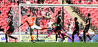 Lincoln City's Alex Palmer is unable to prevent Blackpool's Kenny Dougall scoring his side's equalising goal to make the score 1-1<br /> <br /> Photographer Chris Vaughan/CameraSport<br /> <br /> The EFL Sky Bet League One Play-Off Final - Blackpool v Lincoln City - Sunday 30th May 2021 - Wembley Stadium - London<br /> <br /> World Copyright © 2021 CameraSport. All rights reserved. 43 Linden Ave. Countesthorpe. Leicester. England. LE8 5PG - Tel: +44 (0) 116 277 4147 - admin@camerasport.com - www.camerasport.com