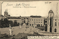 Zagreb : Sveučilišni trg = Agram : Place de l'Université (Croatie). <br /> <br /> ImpresumZagreb : Naklada Jul. Hühna, [1900].<br /> Materijalni opis1 razglednica : tisak ; 9 x 13,9 cm.<br /> SuradnikMosinger, Rudolf(1865.–1918.)<br /> NakladnikJulije Hühn<br /> Vrstavizualna građa • razglednice<br /> ZbirkaZbirka razglednica • Grafička zbirka NSK<br /> ProjektPozdrav iz Hrvatske • Pozdrav iz Zagreba<br /> Formatimage/jpeg<br /> PredmetZagreb –– Trg Republike Hrvatske<br /> Hrvatsko narodno kazalište (Zagreb).<br /> SignaturaRZG-TMT-14<br /> Obuhvat(vremenski)20. stoljeće<br /> NapomenaRazglednica je putovala 1900. godine. • Poleđina razglednice namijenjena je samo za adresu. • Razglednica je nastala po fotografiji Rudolfa Mosingera.<br /> PravaJavno dobro<br /> Identifikatori000953140<br /> NBN.HRNBN: urn:nbn:hr:238:426977 <br /> <br /> Izvor: Digitalne zbirke Nacionalne i sveučilišne knjižnice u Zagrebu