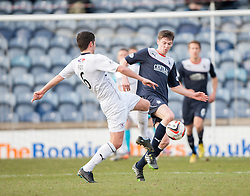 Raith Rovers Liam Fox and Falkirk's Conor McGrandles.<br /> Raith Rovers 2 v 4 Falkirk, Scottish Championship game today at Starks Park.<br /> © Michael Schofield.