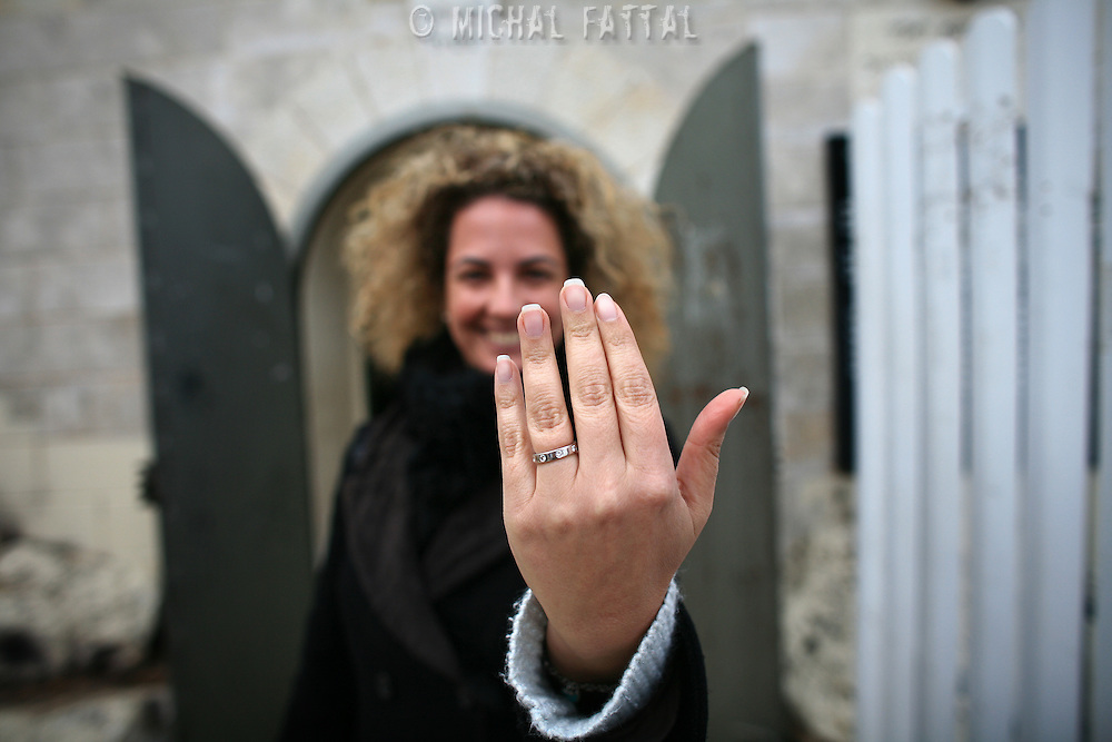 Orna proudly shows off her engagement ring. In May she will get married, after visiting last year the grave of Yonatan ben Uziel at Amukah in the Galilee in Israel. Over the centuries the tradition developed that those seeking for their soul-mates would be married within one year if they prayed at Rabbi Ben-Uziel's tomb.