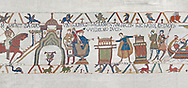 Bayeux Tapestry scene 23 :  In front of Duke William, Harold touches 2 reliqueries and swears fealty to Duke William. BYX23 .<br /> <br /> If you prefer you can also buy from our ALAMY PHOTO LIBRARY  Collection visit : https://www.alamy.com/portfolio/paul-williams-funkystock/bayeux-tapestry-medieval-art.html  if you know the scene number you want enter BXY followed bt the scene no into the SEARCH WITHIN GALLERY box  i.e BYX 22 for scene 22)<br /> <br />  Visit our MEDIEVAL ART PHOTO COLLECTIONS for more   photos  to download or buy as prints https://funkystock.photoshelter.com/gallery-collection/Medieval-Middle-Ages-Art-Artefacts-Antiquities-Pictures-Images-of/C0000YpKXiAHnG2k