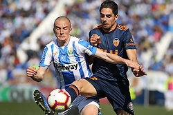 February 24, 2019 - Leganes, Madrid, Spain - Kravets of Leganes and Sobrino of Valencia in action during La Liga Spanish championship, football match between Leganes and Valencia, February 24th, Butarque stadium, in Leganes, Madrid, Spain. (Credit Image: © AFP7 via ZUMA Wire)