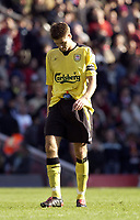 Photo: Daniel Hambury, Digitalsport<br /> Arsenal v Liverpool.<br /> FA Barclays Premiership.<br /> 08/05/2005.<br /> A dejected Steven Gerrard leaves the Highbury pitch aware that qualification for next seasons Champions League is now immpossible.<br /> Norway only