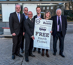 Scottish Greens, Free Bus Travel, 27 February<br /> <br /> Ahead of the budget debate this afternoon, Scottish Greens Parliamentary Co-Leaders Alison Johnstone MSP and Patrick Harvie MSP along with the Green MSP group staged a photocall outside the Scottish Parliament to celebrate their free bus travel for under 19s budget win.<br /> <br /> The Scottish Greens yesterday announced that a deal had been struck on free bus travel, more money for councils, extra resource for community safety and an additional £45 million package to tackle fuel poverty and the climate emergency.<br /> <br /> Pictured:  (left to right) Mark Ruskell MSP, Andy Wightman MSP, Patrick Harvie MSP, Ross Greer MSP, Alison Johnstone MSP and John Finnie MSP<br /> <br /> Alex Todd | Edinburgh Elite media