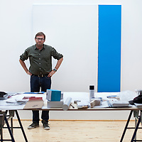 Artist Callum Innes pictured in his Edinburgh Studio. A recipient of the Jerwood Painting Prize in 2002. He has also been shortlisted for a Turner Prize.<br /> Picture Drew Farrell.<br /> Tel : 07721-735041