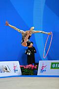 Mazur Viktoria of Ukrain competes during the Rhythmic Gymnastics Women's Individual hoop Qualification of World Cup of Pesaro on April 1, 2016. Viktoria is ritired gymnast born in Luhansk  Ukraine in 1994.