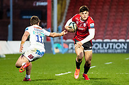 Louis Rees-Zammit of Gloucester Rugby evades the tackle of Facundo Cordero of Exeter Chiefs during the Gallagher Premiership Rugby match between Gloucester Rugby and Exeter Chiefs at the Kingsholm Stadium, Gloucester, United Kingdom on 26 March 2021.