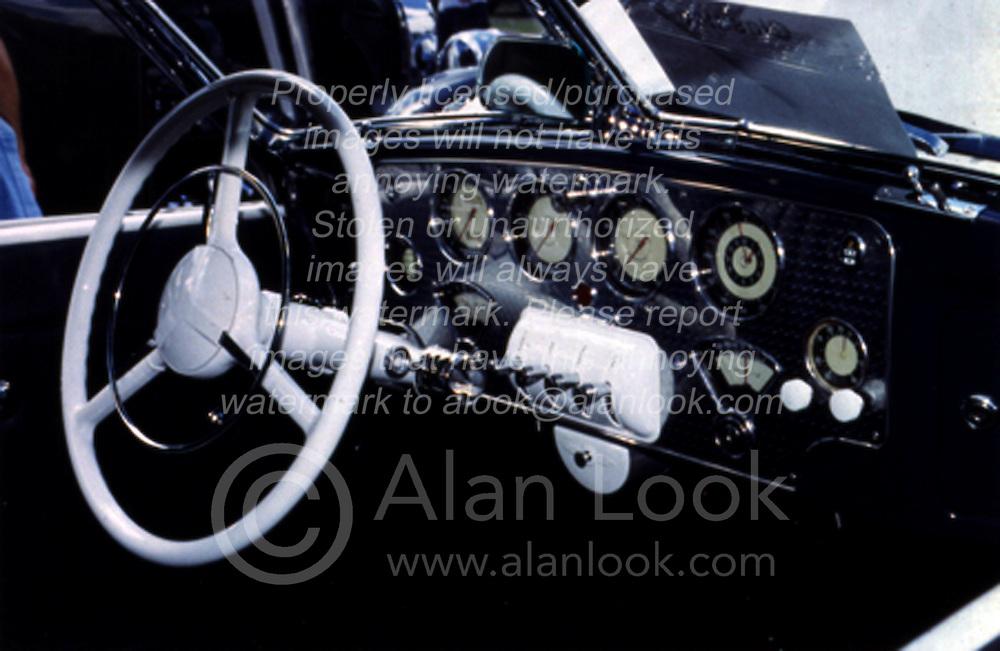 Driver area of vintage automobile