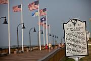 Historic marker on the boardwalk along the beachfront in Myrtle Beach, SC.