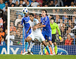 28.09.2010, Stamford Bridge, London, ENG, UEFA Champions League, Chelsea vs Olympique Marseille, im Bild Marseilles Brandao is closed down by Chelsea's Yuri Zhirkov. EXPA Pictures © 2010, PhotoCredit: EXPA/ IPS/ Mark Greenwood +++++ ATTENTION - OUT OF ENGLAND/UK +++++ / SPORTIDA PHOTO AGENCY