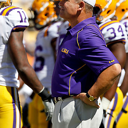 Oct 2, 2010; Baton Rouge, LA, USA; LSU Tigers head coach Les Miles on the field prior to kickoff of a game between the LSU Tigers and the Tennessee Volunteers at Tiger Stadium.  Mandatory Credit: Derick E. Hingle