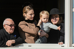 Pierre Casiraghi's wife Beatrice Borromeo and Stefano Ercole Casiraghi are attending from the balcony the parade at the Palace Square during the National Day ceremonies in Monaco on November 19, 2018. Photo by ABACAPRESS.COM