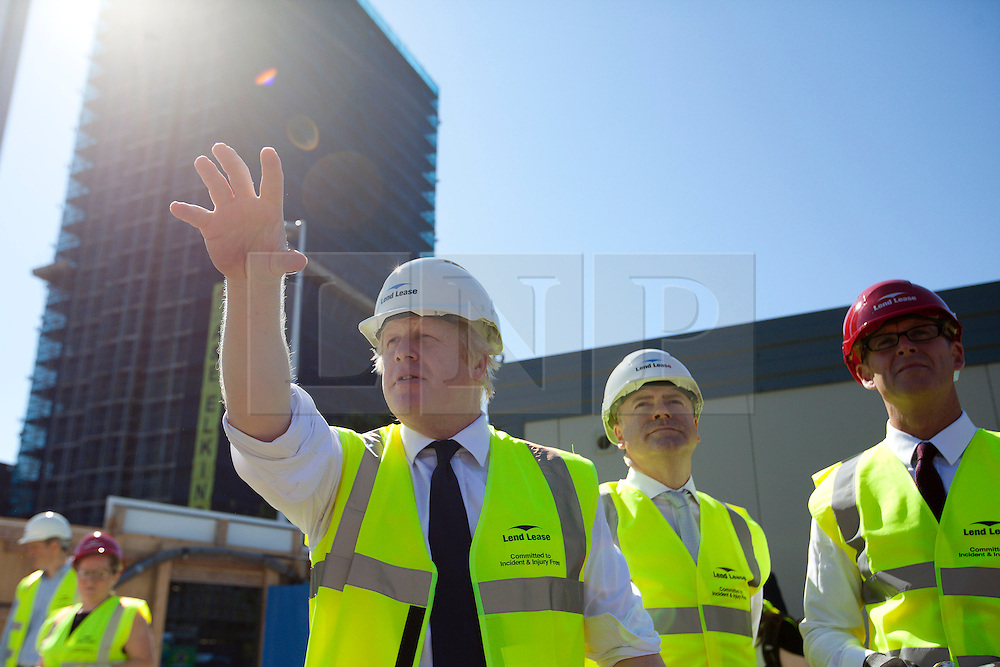 © Licensed to London News Pictures. 01/08/2013. London, UK. Bori Johnson, the Mayor of London, is seen officially launching the start of regeneration work in Elephant and Castle, London, today (01/08/2013). Work in the area will see over 280 homes, retail and business space as well as a community leisure centra. Photo credit: Matt Cetti-Roberts/LNP