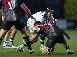 Jake Heenan of Bristol Bears is tackled by Will Evans of Harlequins - Mandatory by-line: Matt Impey/JMP - 26/12/2020 - RUGBY - Twickenham Stoop - London, England - Harlequins v Bristol Bears - Gallagher Premiership Rugby