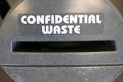 Protecting data, a confidential waste depository at an auditing company's London headquarters.