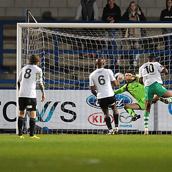 TELFORD COPYRIGHT MIKE SHERIDAN GOAL. Akeel Francis scores for Farsley to make it 0-1 during the Vanarama Conference North fixture between AFC Telford and Farsley Celtic at the New Bucks head Stadium on Saturday, December 7, 2019.<br />